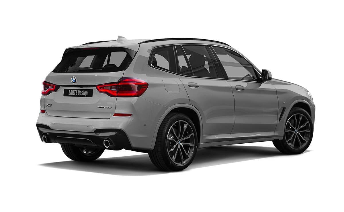Серый BMW X3 G01 вид сзади