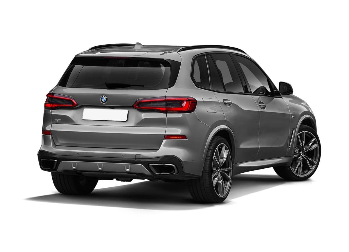 Серый BMW X5 G05 вид сзади