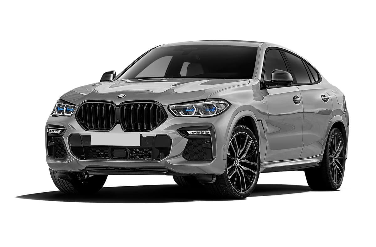 Серый BMW X6 G06 вид спереди
