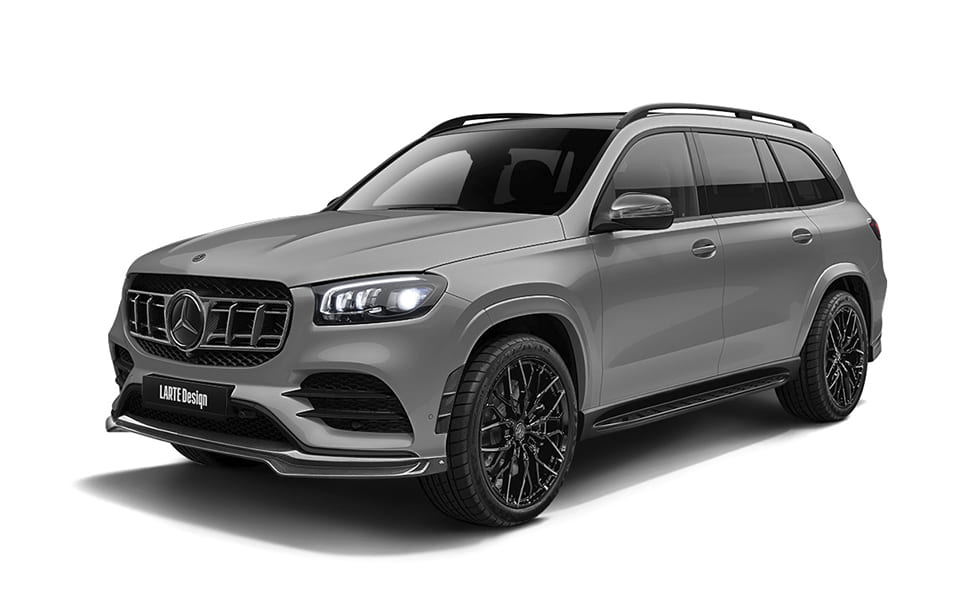 Серый Mercedes Benz GLS вид сбоку