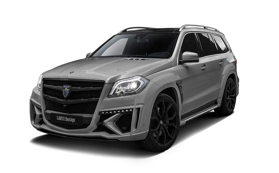Серый Mercedes Benz GL X166 вид сбоку