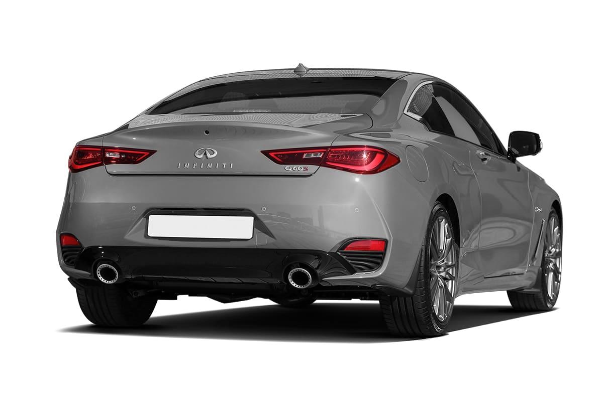 Серый Infiniti Q60 Coupe CV37 вид сзади