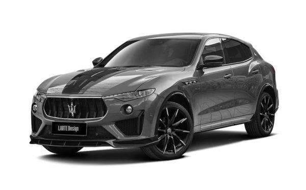 Серый Maserati Levante вид сбоку